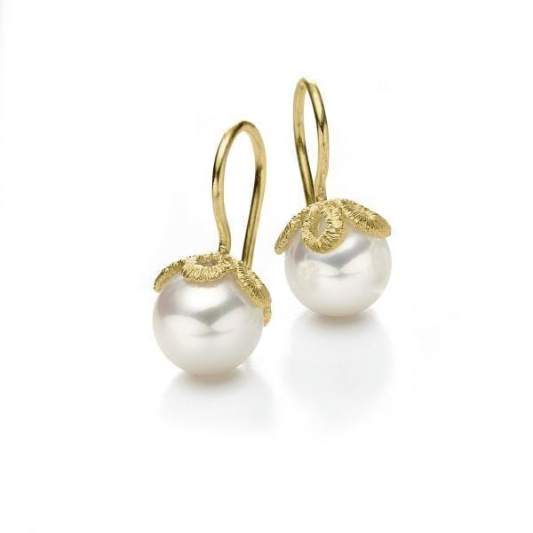 18k Yellow Gold Freshwater Pearl Frau Luna Earrings DesignYard