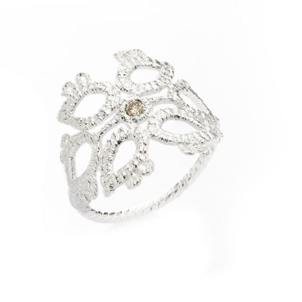 Sterling Silver Champagne Diamond Sleeping Beauty Engagement Ring Designyard