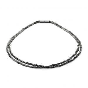 Sterling Silver Black Rhodanized Collier Twist Necklace DesignYard