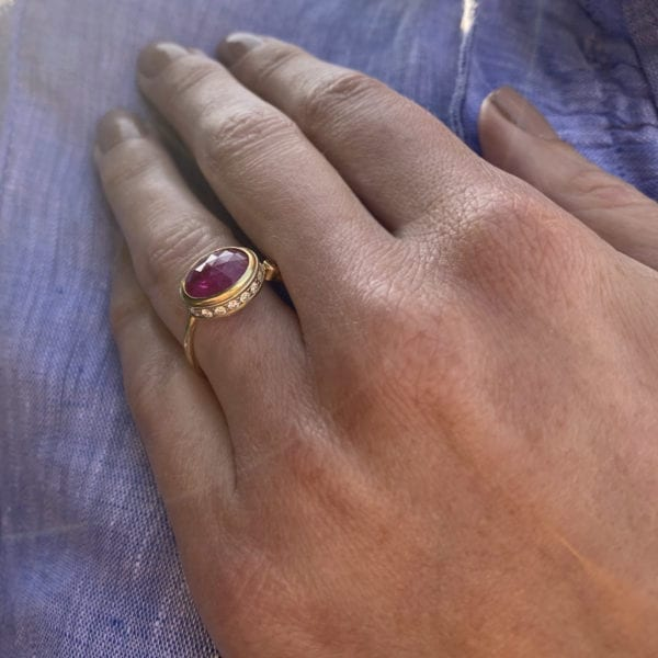 contemporary gold ring ruby diamond designyard josephine bergsoe