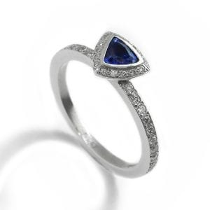 Platinum Trillion Sapphire Pave Diamond Ring DesignYard