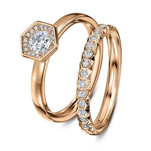 andrew geoghegan 18k rose gold diamond chapiteau wedding ring designyard contemporary jewellery gallery dublin ireland