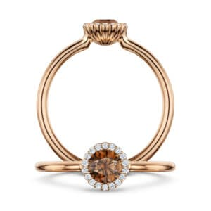 andrew geoghegan 18k rose gold diamond chocolate cannele engagement ring designyard contemporary jewellery gallery dublin ireland
