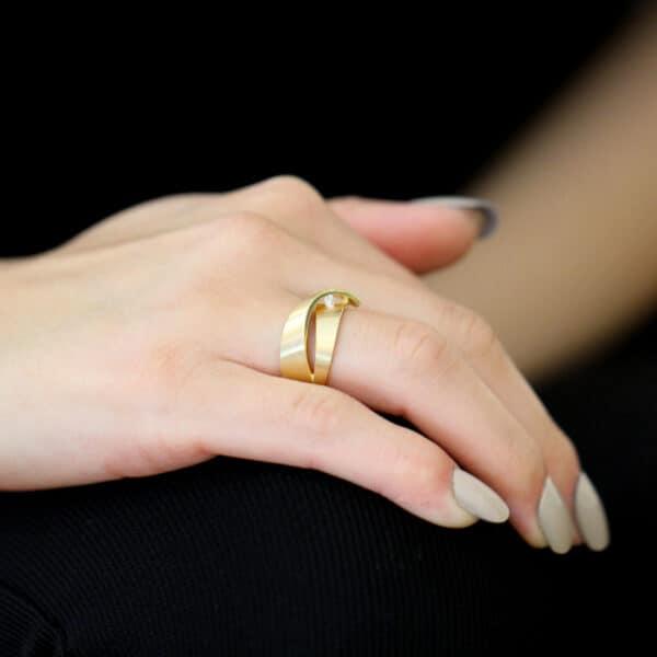cardillac 14k yellow gold diamond orchid engagement ring designyard contemporary jewellery gallery dublin ireland alternative engagement ring