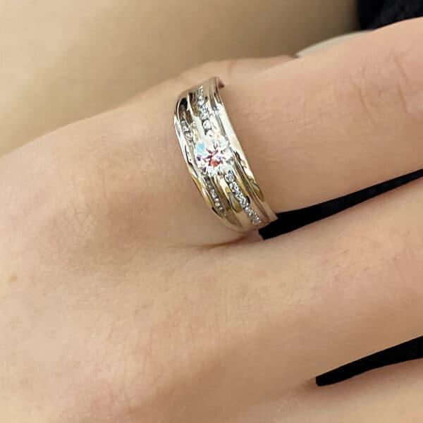 da capo 18k white gold diamond flow ring designyard contemporary jewellery gallery dublin ireland