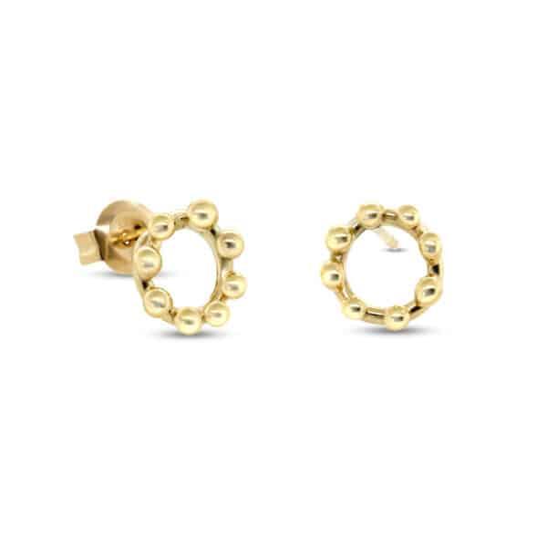 neeltje huddleston slater 14k yellow gold circle dot earrings designyard contemporary jewellery gallery dublin ireland handmade jewelry irish designer design jewellers shop