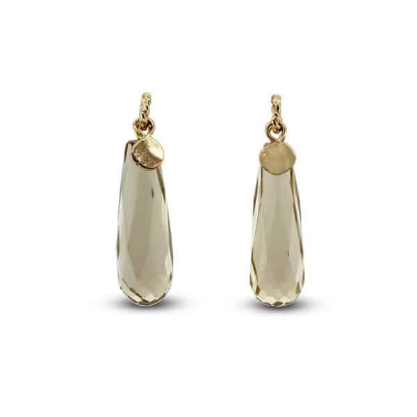 neeltje huddleston slater 14k yellow gold citrine long leaf earrings designyard contemporary jewellery gallery dublin ireland handmade jewelry design designer irish jewellers shop