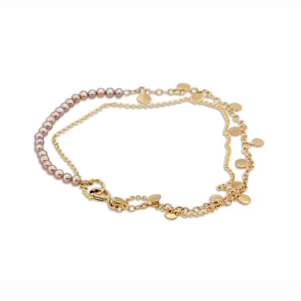 neeltje huddleston slater 14k yellow gold pink pearl leaf bracelet designyard contemporary jewellery gallery dublin ireland handmade jewelry design designer irish jewellers shop