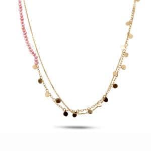 neeltje huddleston slater 14k yellow gold pink pearl leaf necklace designyard contemporary jewellery gallery dublin ireland handmade jewelry design designer irish jewellers shop