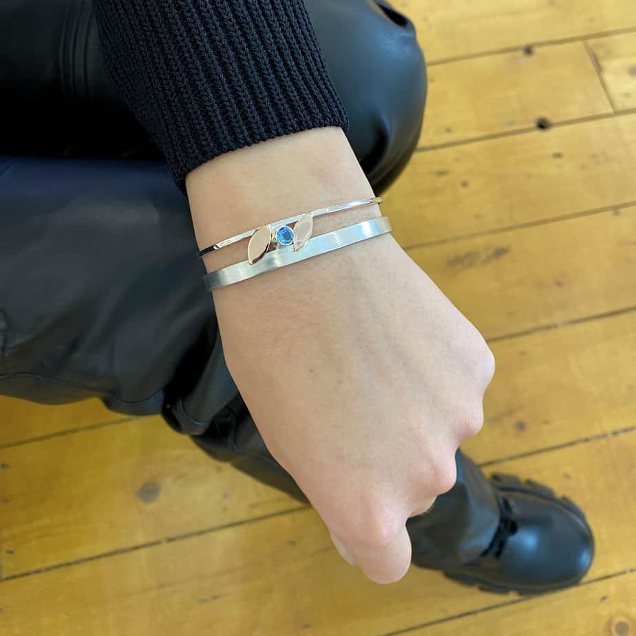 stephanie robinson sterling silver 14k rose gold leaf bracelet designyard contemporary jewellery gallery dublin ireland