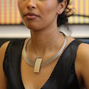 ursula muller gold grey rectangular steel aluminium necklace designyard contemporary jewellery gallery dublin ireland handmade jewelry design designer irish jewellers shop