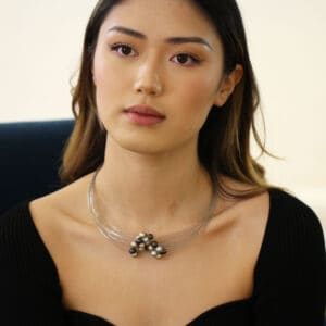 ursula mulller interlocking bead steel aluminium necklace designyard contemporary jewellery gallery dublin ireland jewelry