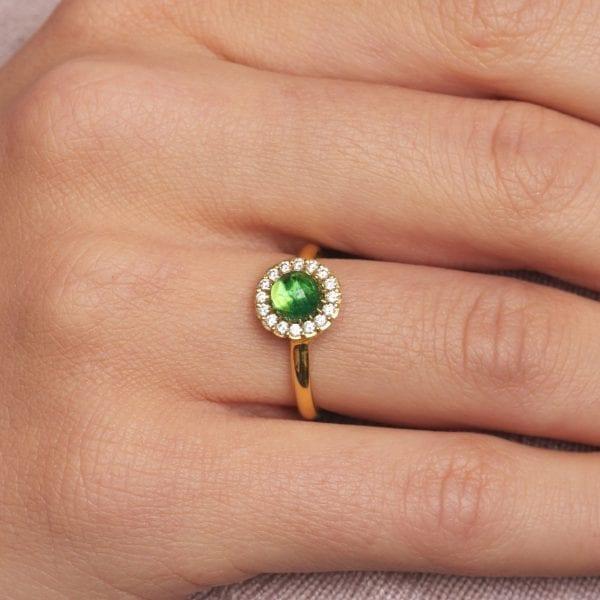 18k Yellow Gold Green Tourmaline Diamond Cannele Twist Engagement Ring
