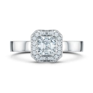 18k White Gold Diamond Fission Cluster Engagement Ring DesignYard