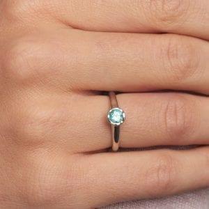 18k White Gold Paraiba Tourmaline Lattice Engagement Ring