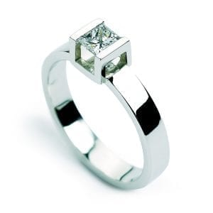 18k White Gold Diamond Cube Engagement Ring