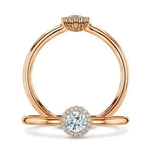 18k Rose Gold Diamond Cannele Engagement Ring Designyard