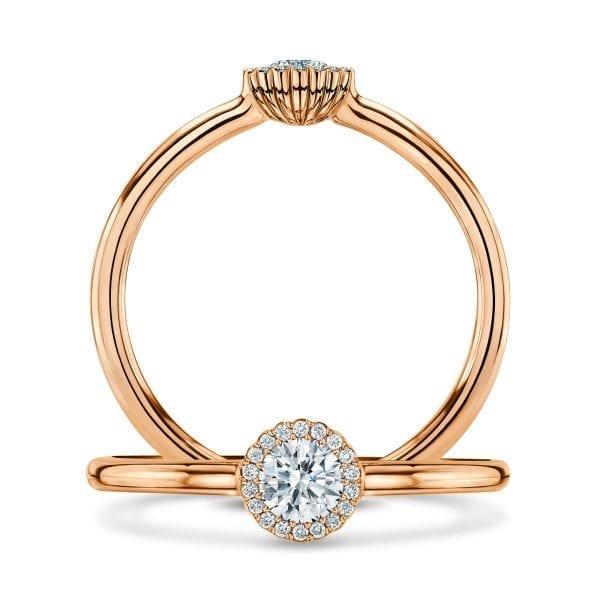 18k Rose Gold Diamond Cannele Engagement Ring Designyard