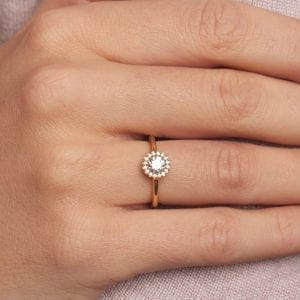 18k Rose Gold Diamond Cannele Engagement Ring