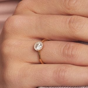 18k Rose Gold Diamond Cannele Engagement Ring