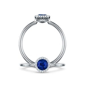 18k White Gold Blue Sapphire Diamond Cannele Engagement Ring Designyard