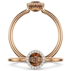 18k Rose Gold Diamond Chocolate Cannele Engagement Ring Designyard