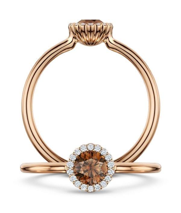 18k Rose Gold Diamond Chocolate Cannele Engagement Ring