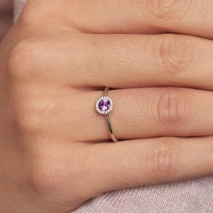 18k White Gold Pink Sapphire Diamond Cannele Engagement Ring