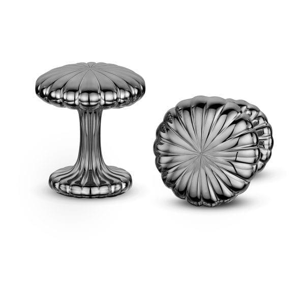 Silver Black Cannele Cufflinks