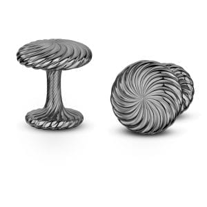 Silver Black Cannele Twist Cufflinks