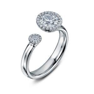 Bespoke Platinum Diamond Satellite Engagement Ring Designyard