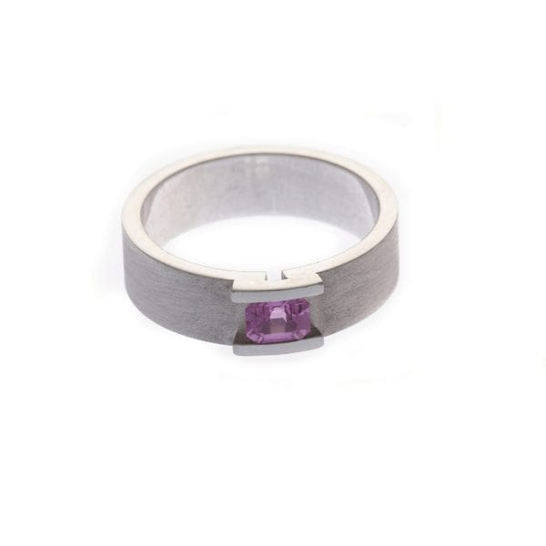 18k White Gold Pink Sapphire Suspension Engagement Ring