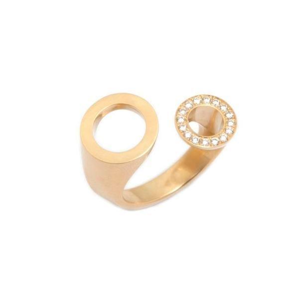 18k Yellow Gold Diamond Ping Pong Engagement Ring