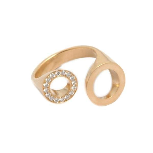 18k Yellow Gold Diamond Ping Pong Engagement Ring