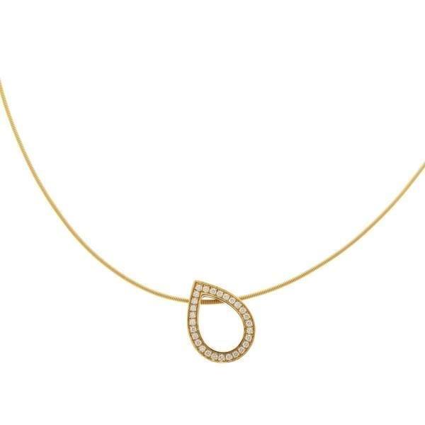 18k Yellow Gold Diamond Drop Pendant