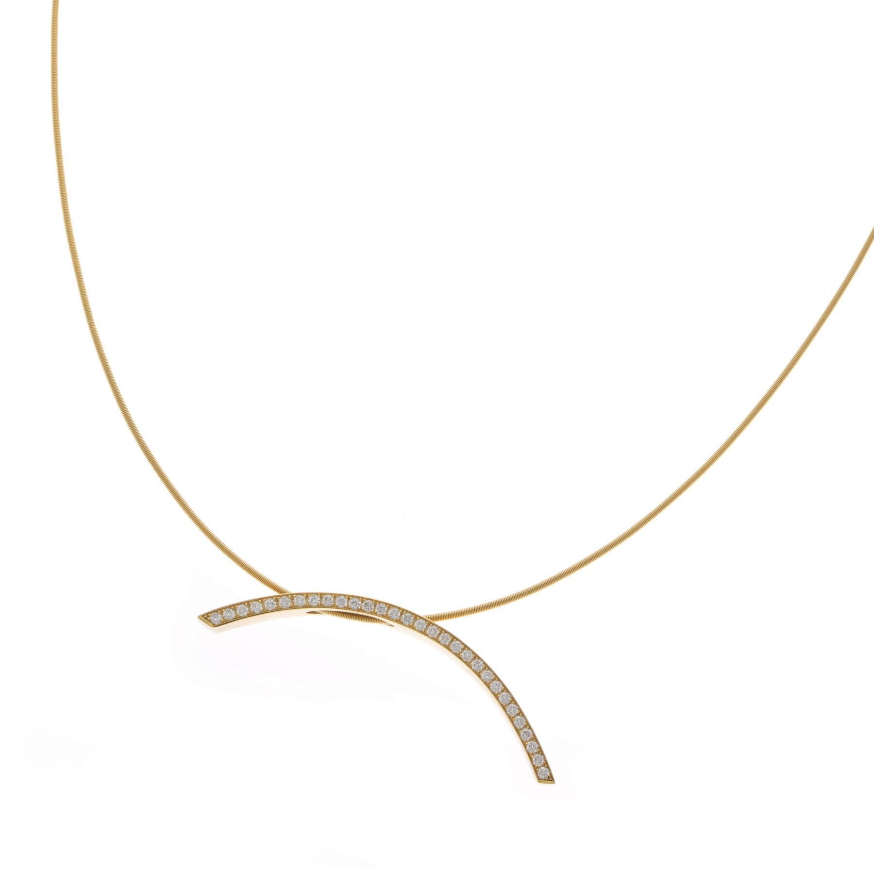 18k Yellow Gold Diamond Curved Necklace