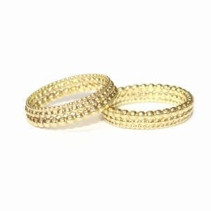 18k Yellow Gold Three Row Bubble Wedding Ring Designyard