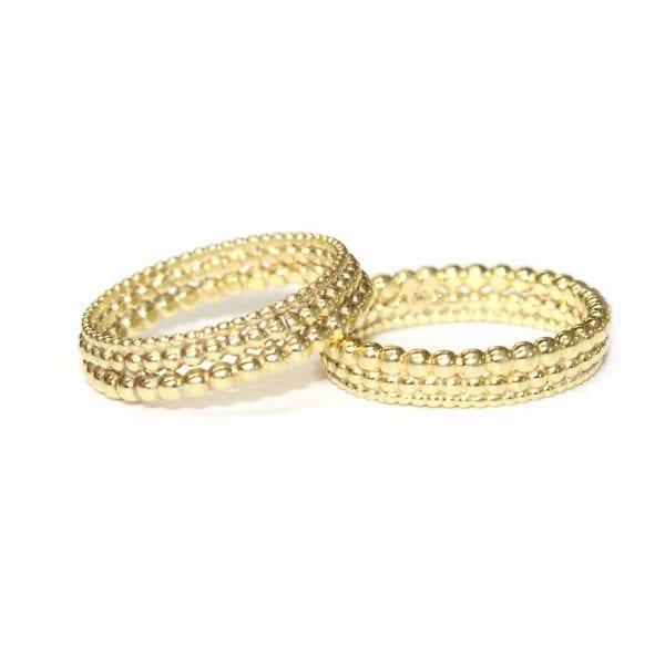 18k Yellow Gold Three Row Bubble Wedding Ring Designyard