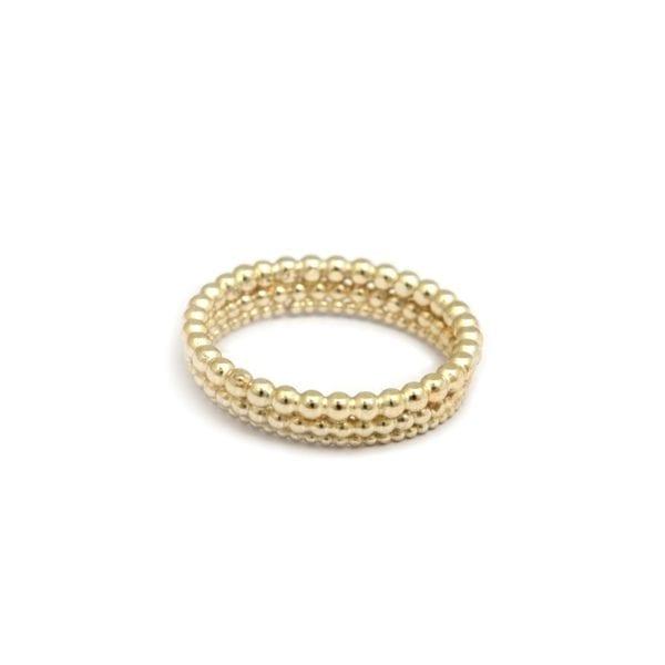 18k Yellow Gold Three Row Bubble Wedding Ring