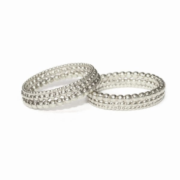 Sterling Silver Three Row Bubble Wedding Ring Designyard