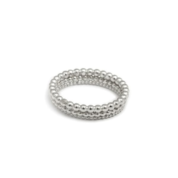 Sterling Silver Three Row Bubble Ring