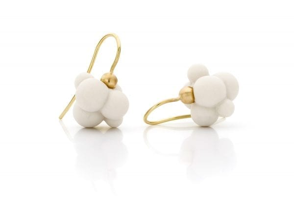14k Yellow Gold Porcelain Cloud Earrings Designyard