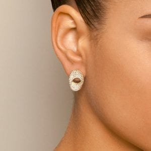 18k Yellow Gold Silver Bubble Earrings