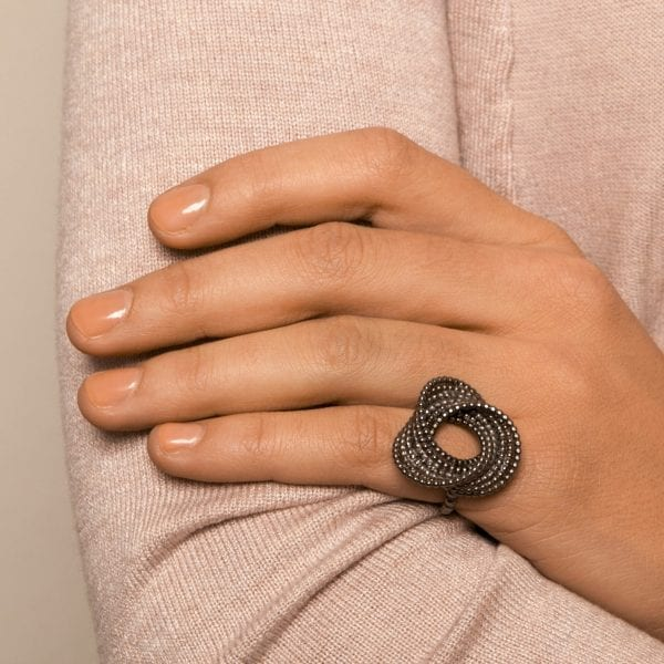 Silver Black Rhodinized Bubble Ring