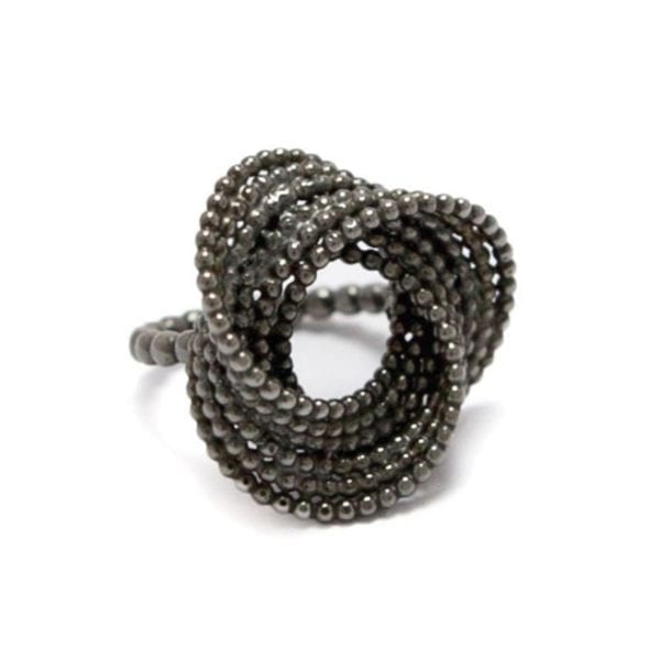 Silver Black Rhodinized Bubble Ring Designyard