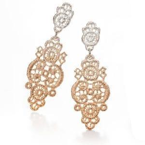 Sterling Silver Ombre Rose Gold Plated Turandot Earrings Designyard