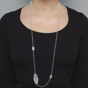 Sterling Silver Long Turandot Necklace