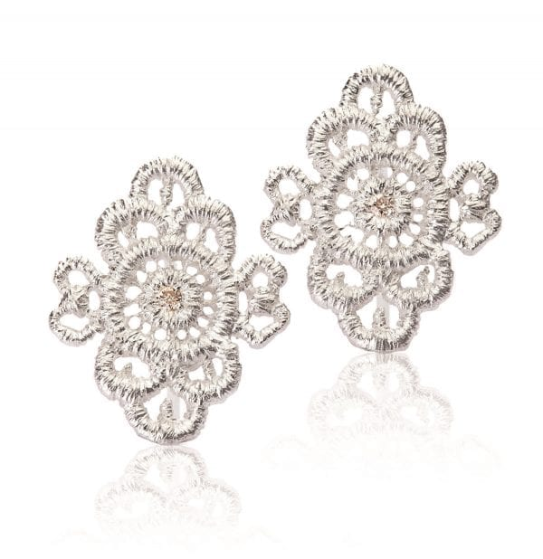 Sterling Silver Champagne Diamond Piccolo Turandot Earrings Designard