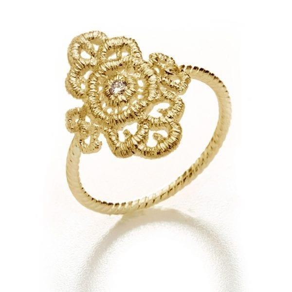 18k Yellow Gold Champagne Diamond Mona Lisa Ring DesignYard