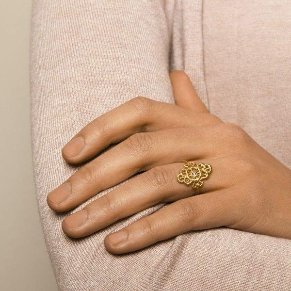 18k Yellow Gold Champagne Diamond Mona Lisa Ring
